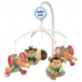 Baby Mix Plyšový kolotoč nad postýlku - Sloni a opice