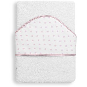 INTERBABY OSUŠKA froté 100x100 HVĚZDA - bílo-růžová