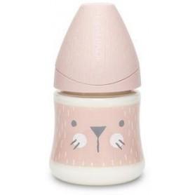 Suavinex PREMIUM LÁHEV 150 ml P. PRŮTOK SUAVINEX PREMIUM Láhev 150 ml S HYGGE VOUSKY - RŮŽOVÁ