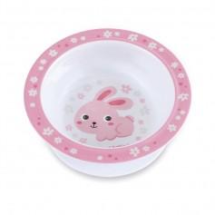 Canpol babies melaminová miska s přísavkou BUNNY & COMPANY 270 ml růžová
