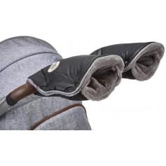 rukavice na kočár Mazlík černá-logo/šedá