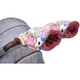 rukavice na kočár tisk Mazlík růžová kytky/starorůžová