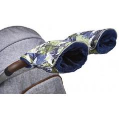 rukavice na kočár tisk Mazlík zelené lístky/modrá