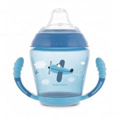 Canpol babies Nevylévací hrníček se silikonovým pítkem 230ml TOYS modrý