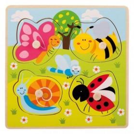 Jouéco Dřevěné puzzle s úchyty Zvířátka na louce 12m+