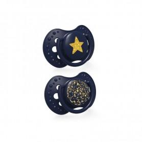 LOVI Dudlík 3-6m silikonový dynamický STARDUST 2ks modrý