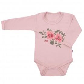 New Baby Kojenecké body s dlouhým rukávem FLOWERS růžové