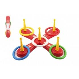 Teddies Házecí hra plast kříž s kruhy v síťce 46x12x8cm