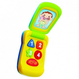 Teddies Telefon Mobil plast 14cm na baterie se zvukem se světlem na kartě 11x20x5,5cm 18m+