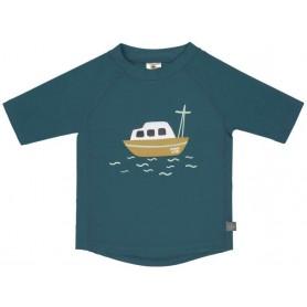Short Sleeve Rashguard boat blue 12 mo.