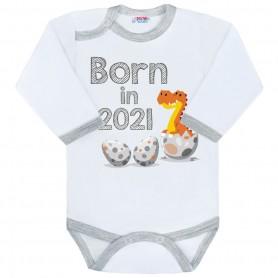 New Baby body s potiskem BORN IN 20201 ŠEDO-BÍLÉ