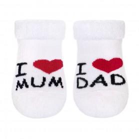 New Baby kojenecké froté ponožky bílé I LOVE MUM AND DAD