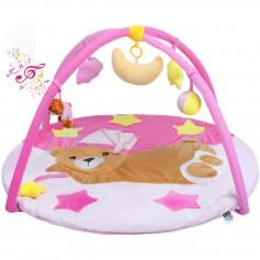 PlayTo hrací deka s melodií spící medvídek růžová