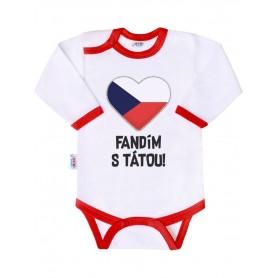 New Baby body s potiskem FANDÍM S TÁTOU červený lem