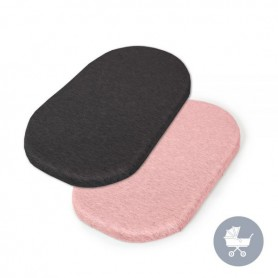CEBA Prostěradlo do kočárku 73-80 x 30-37 cm 2 ks Dark Grey+Pink