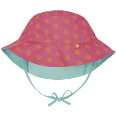 Sun Protection Bucket Hat peach stars 18-36 mo.