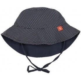 Sun Protection Bucket Hat polka dots navy 18-36 mo.