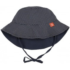 Sun Protection Bucket Hat polka dots navy 18-36 mo.