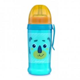 Canpol babies Láhev sportovní s nevylévací slámkou HELLO LITTLE 350 ml