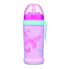 Canpol babies Sportovní láhev se silikonovou nevylévací slámkou MOTÝLEK 350 ml
